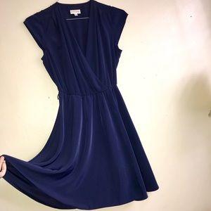 Deep V  Midi Cocktail Dress Short Sleeve